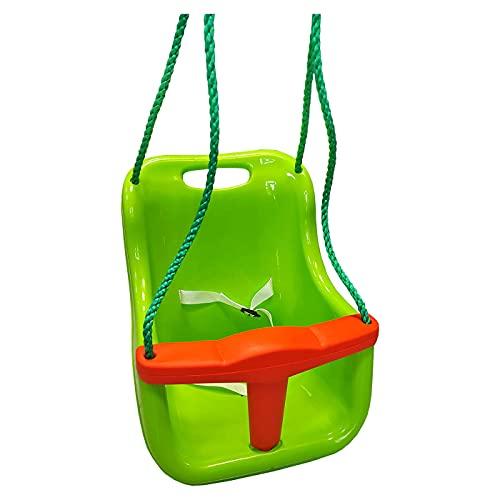 Columpio Infantil con cinturón de Seguridad 39 x 36 x 43 cm, Asiento Silla Colgante bebé, Carga máxima 25 kg para casa, jardín, Interiores o Exteriores (Verde)