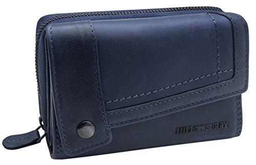 BelleBay Hill Burry Damen Leder Portemonnaie | Große Geldbörse aus echtem Leder | Frauen Geldbeutel mit vielen Fächern | Mit Münzfach & RFID Schutz (Blau)