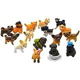 AiSi - Juego de 16 bonitas figuras decorativas en miniatura, en forma de perrito, cachorro, chihuahua, golden retriever, etc., 2,5 cm cada una