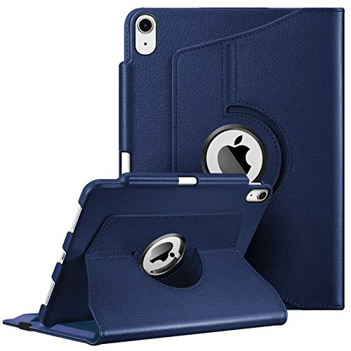 Fintie Case for iPad Air 4 10.9 Inch 2020 with Pencil Holder [Support 2nd Gen Pencil Charging] - 360 Degree Rotating Stand Cover with Auto Sleep/Wake for iPad Air 4th Generation, Navy