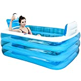 XL Blue Color Inflatable Bath Tub Plastic Portable Foldable Bathtub Soaking Bathtub Home