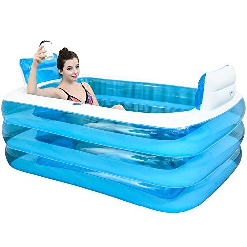 PPBathtub XL Color Azul Inflable Bañera de plástico Plegable portátil bañera SPA Bañera Bañera de hidromasaje Inicio Equipo eléctrico con la Bomba de Aire, 160x120x60cm