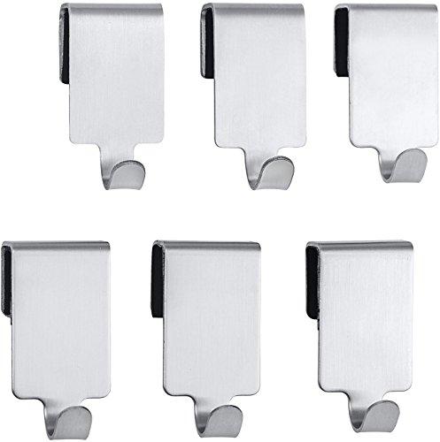 Wenko 54810100 Haken Premium, Küchen-Haken für Reling, Edelstahl rostfrei, 2 x 4 x 2,5 cm, silber matt, 6er Set