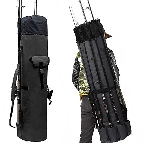 OWNERKULA Angelruten-Tasche, wasserdichte Angelruten-Tasche mit strapazierfähigem faltbarem Oxford-Gewebe, tragbare Angelruten-Hülle für 5 Ruten und Ausrüstung, schwarz
