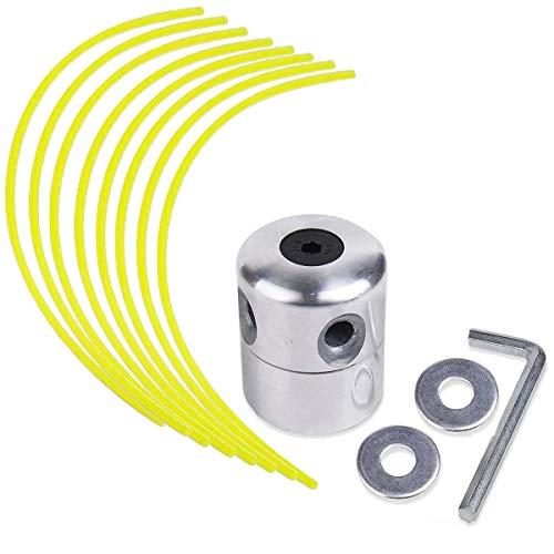 N/C ZAMDOE Cabezal de línea de Aluminio, Cabezal de cortadora de césped, Carrete de Nailon para desbrozadora de Gasolina, Kit de cortadora de césped con 1 Cabezal de línea + 8 líneas
