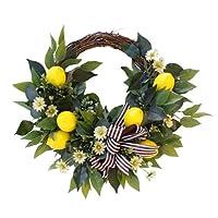 AliNature 農家の装飾のための正面ドアの花輪19.69インチ人工レモンの花輪