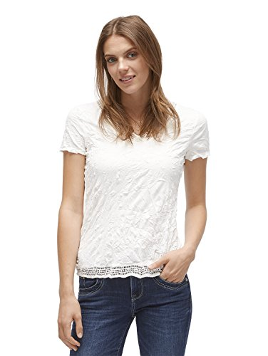 TOM TAILOR Damen Allover Crinkled T-Shirt, Elfenbein (Whisper White 8210), X-Large
