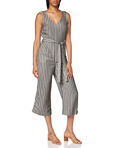 TOM TAILOR Damen Jumpsuits Overall, Mehrfarbig ( 22579 - khaki offwhite strip ) , 40