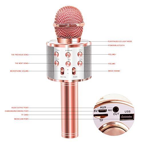 Micrófono Karaoke Bluetooth, 4 en1 Microfono Inalámbrico Karaoke Portátil Micrófono Inalámbrico Karaoke Bluetooth Soporte para KTV Karaoke Cantar Compatible con Android/iOS PC (Oro rosa)