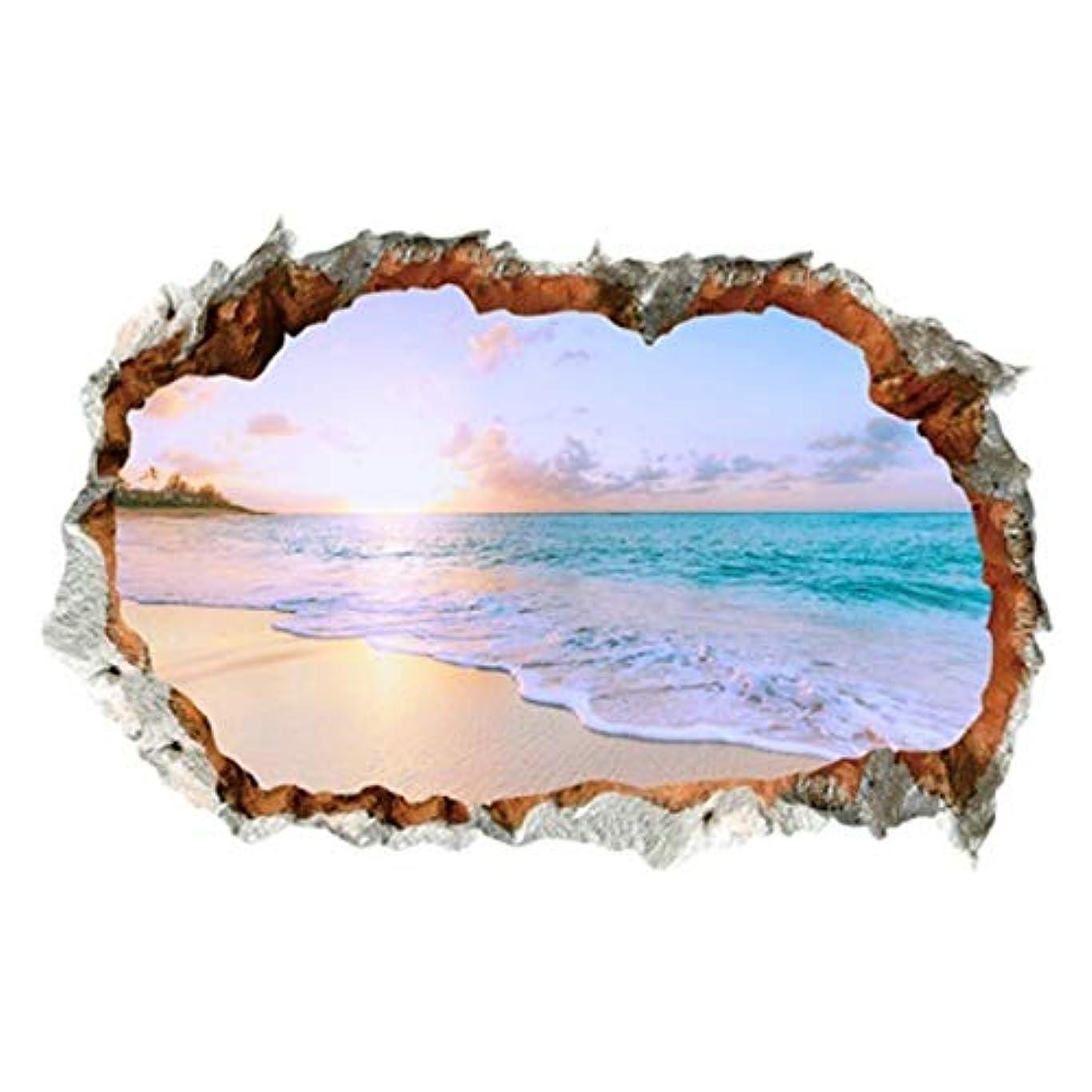 蓋風邪をひくモーテルウォールステッカー 窓 海 南国 ビーチ 風景 おしゃれ シール お風呂 壁紙 壁の穴 レンガ トリックアート ヤシの木 トイレ かわいい インテリア 壁飾り 写真 夕日 空 大きい 夏 窓の景色 波 砂浜 diyシール ハワイ ハワイアン サーフ 西海岸 アメリカン 海岸 磯 雲 建具 vr01784