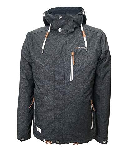 Dry Fashion Herren Funktionsjacke Husum meliert Regenjacke, Größe:6XL, Farbe:schwarz meliert
