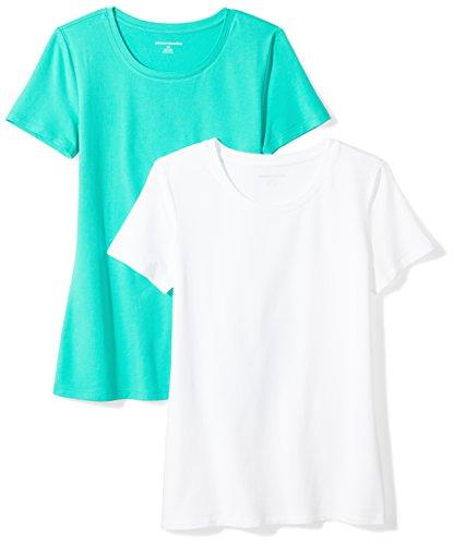 Amazon Essentials Damen-T-Shirt, klassisch, kurzärmlig, Rundhalsausschnitt, 2er-Pack, Grün (Mint Green/White), Medium