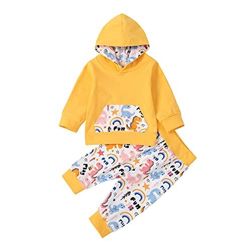 TinaDeer Kleinkind Kinder Baby Mädchen Bekleidungsset Outfits Set Dinosaurier Regenbogen Hoodie Sweatshirt Langarm Top + Lange Hosen Herbst Winter Kleidung Sets für 1 - 3 Jahre (Gelb, 90)