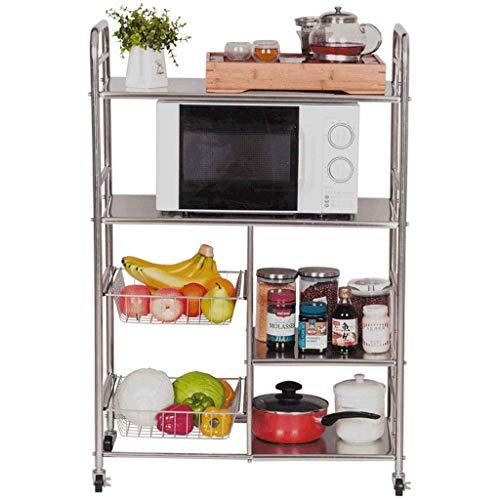 Gereedschapswagen, multifunctioneel rek voor in de keuken, restaurant, flessentrekwagen met handvat met remwiel, roestvrijstalen behuizing