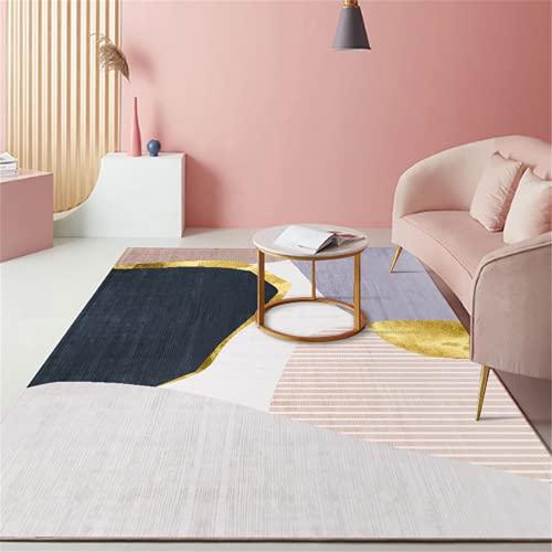 MMHJS Muebles para El Hogar Alfombra De Lujo Oficina Dormitorio Sala De Estar Alfombra Rectangular Grande Pelo Corto Suave 140x200cm