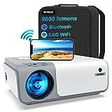5G WiFi Videoprojecteur Full HD Bluetooth-WiMiUS W1,8500 Lumen Projecteur 1080p Natif, Soutiens 4k,Correction Trapézoïdale 5D & Zoom-50%, Projecteur Portable WiFi pour Fête en Plein Air & Home Cinéma