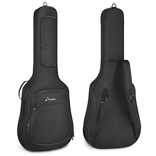 Donner Gitarrentasche Akustikgitarre Gigbag 12mm gepolstert wasserdicht Gitarre Rucksack Gitarrenhülle für 40/41 Zoll Akustikgitarre, Schwarz