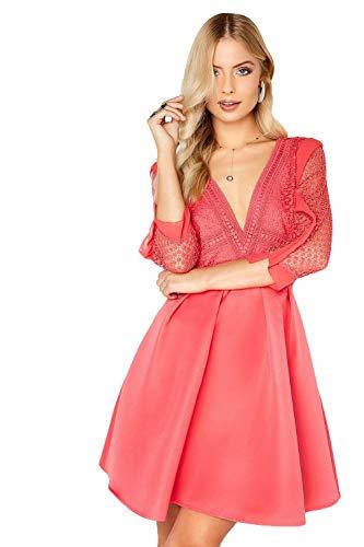 Little Mistress Damen Partykleid Coral Skater Dress, Pink (Coral 001), Gr. 36 (8 UK)
