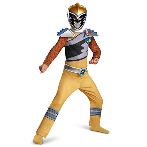 Gold Power Rangers Costume for Kids. Official Licensed Gold Ranger Dino Charge Classic Power Ranger Suit with Mask for Boys & Girls, Small (4-6)