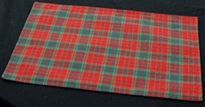 Justina Claire Pair of Table Placemats (Reversible) in a Red and Green Plaid Design derived from Scottish Tartan.