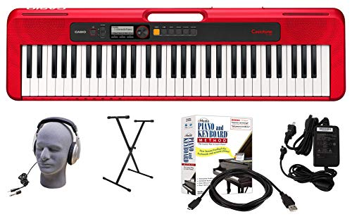 Casio CT-S200RD 61-Key Premium Keyboard Package with Headphones, Stand, Power Supply, 6-Foot USB Cable and eMedia Instructional Software, Red (CAS CTS200RD EPA)