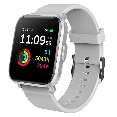 Reloj Inteligente Hombre Mujer, GRDE Smartwatch Fitness 24H Monitor de Oxigeno(SpO2)/Ritmo Cardíaco/Sueño 5ATM Impermeable Reloj GPS Running con 18 Modo Deportivos, Reloj Pantalla Táctil con Podómetr
