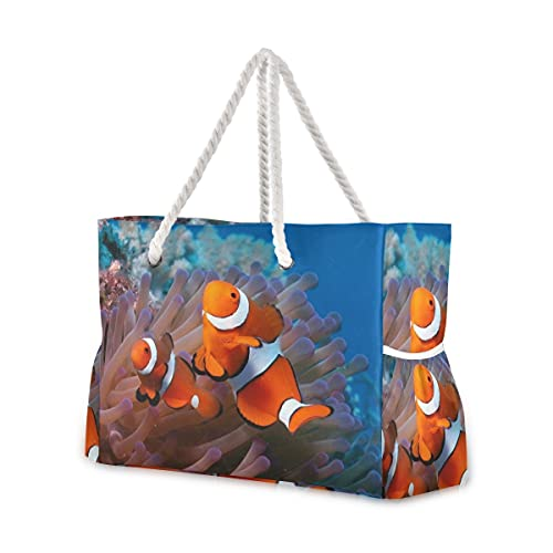 Bolsas de playa grandes Totes de lona Bolsa de hombro Sea-Reef-Coral-Fish-Sea-Anémonas-Payaso-2560X1600 Bolsas...