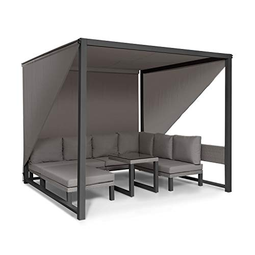 blumfeldt Havanna - Pavillon & Lounge-Set, Gazebo Gartenpavillon, Lounge-Set: 4 Zweisitzer + Polster/Tisch / 8 Kissen, abnehmbares Sonnendach, 3 Flexible Seitenvorhänge, grau/anthrazit
