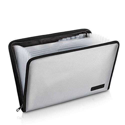 Faechermappe A4 Erweiterbarer Dokumentordner Dateiordner Feuerfestes Hand-Akkordeon Dokumentverwalterdatei Vertragsfotos Folder Bag A4 und Letter Größe 13 Taschen mit feuerfestem Reißverschluss