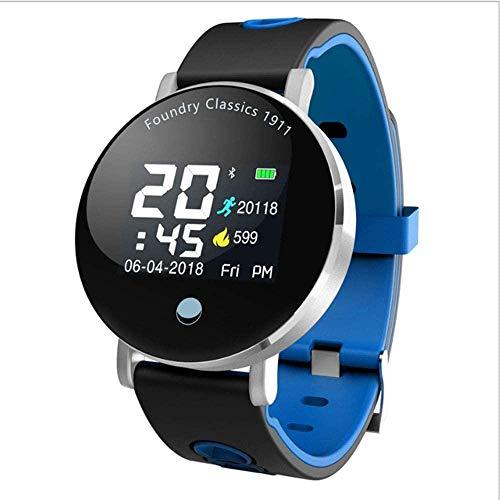 Pulsera de actividad física con monitor de frecuencia cardíaca, impermeable, inteligente, contador de pasos, contador de calorías, podómetro, reloj para niños, mujeres, hombres, negro y azul