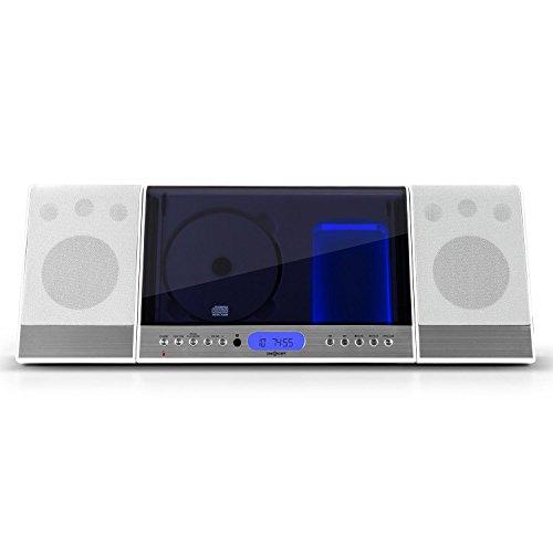 oneConcept Vertical 90 - Minicadena estéreo , Equipo de música , Reproductor CD-MP3 , Sintonizador FM , Pantalla LCD , USB , AUX , Mando a Distancia , Diseño Vertical , Opción Montaje Pared , Blanco