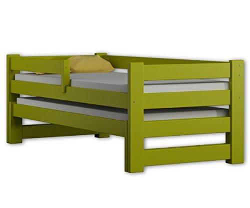 WNM Group Cama individual con cama y cajones, madera maciza exclusiva, (Verde)