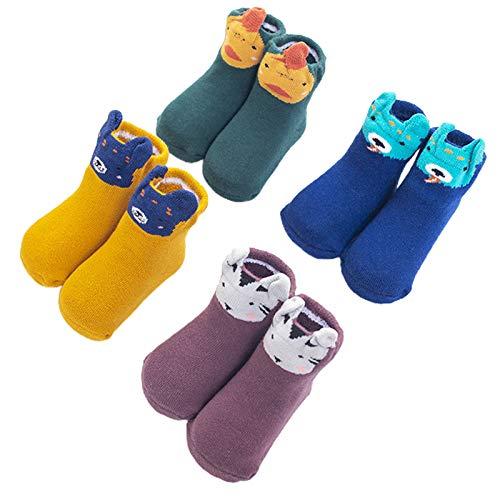 moregirl 4 Pares de Calcetines de Invierno Gruesos y cálidos para bebés y niños Medias de Orejas de Animales de Dibujos Animados