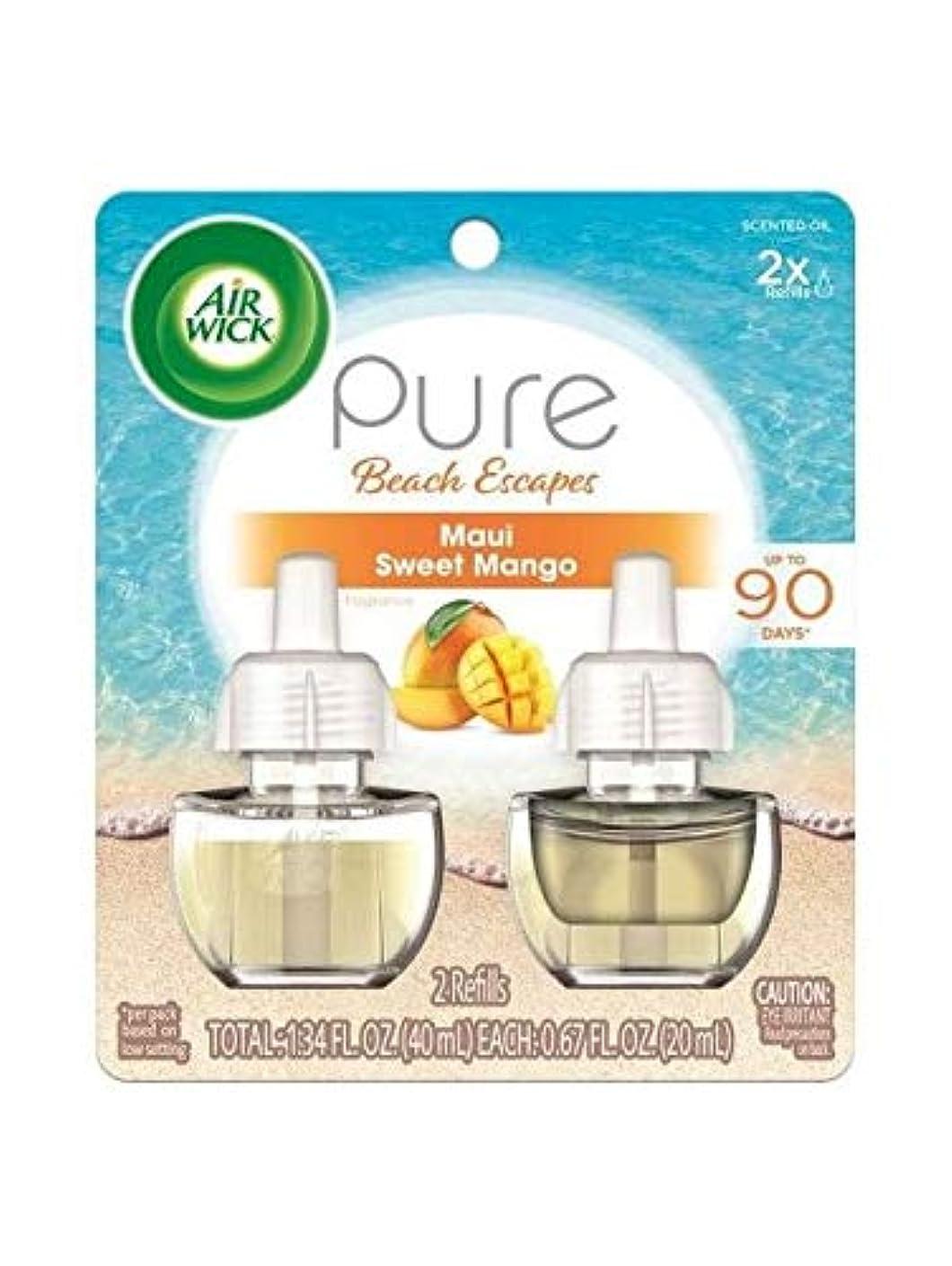 ピンコショウいちゃつく【Air Wick/エアーウィック】 プラグインオイル詰替えリフィル(2個入り) マウイ スイートマンゴー Air Wick Scented Oil Twin Refill Pure Beach Escapes Maui Sweet Mango (2X.67) Oz. [並行輸入品]