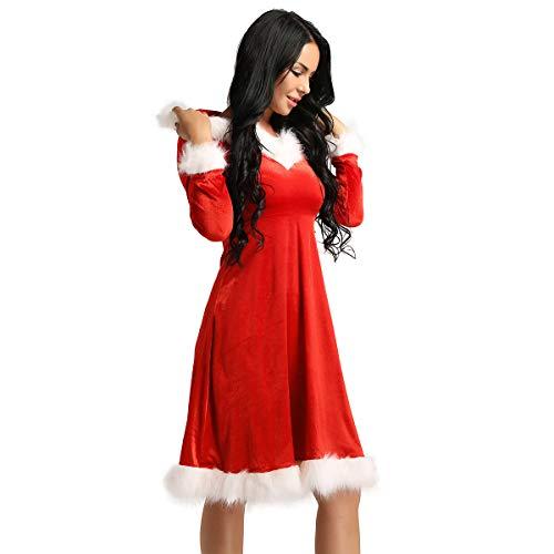 Freebily Weihnachtskostüm Damen Sexy Weihnachtsmann Kostüm Miss Santa Kleid mit Kapuze Samt Weihnachtskleid Cosplay Partykleid für Weihnachtsfeier Rot Small