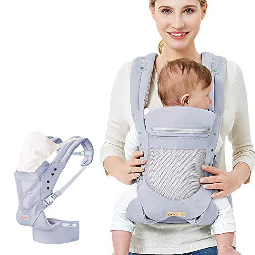 RAPLANC Infant Baby Holder Carrier Backpack Ergonomic with Head Support Padded Shoulder Straps Front And Back for Newborn Toddler Wrap in All Season, Grey
