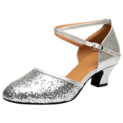 Damen Standard Latein Funkeln Tanzschuhe Frauen Salsa Tango Ballsaal Tanzen Schuhe Hochzeit Abendschuhe, Celucke Klassische Pumps Frühling Elegante Brautschuhe (Silber, EU39)