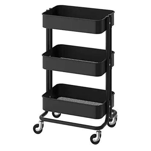 Preisvergleich Produktbild FRANKYSTAR Servierwagen aus Stahl,  schwarz,  multifunktional,  für Badezimmer,  Küche und Bar mit drehbaren Rädern