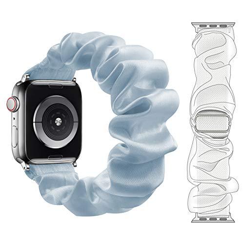 Fengyiyuda Cinturino Compatibile con aple Watch 38mm 40mm 42mm 44mm,Cinturino di Elastico Scrunchie con Stampato in Tessuto per Iwatch 6/SE/5/4/3/2/1,Grigio Blu,42/44mm