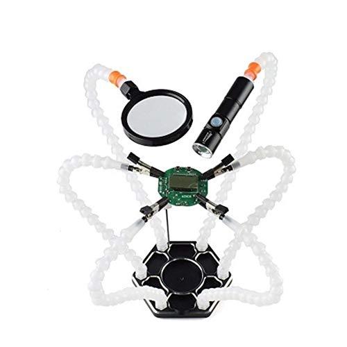 DressU Más Fuerte Estación de Soldadura Tercer Pana Mano con 6 Piezas de Las Manos Amigas y aparatos de soldar USB Linterna Recargable Lupa Eficientemente (Color : White)