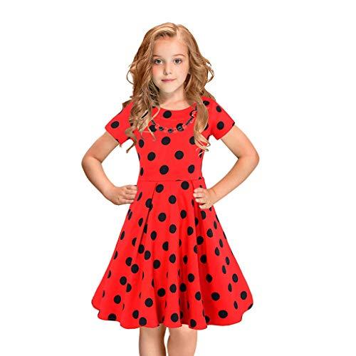 Julhold Kids Meisjes Elegante Vintage Slim Katoen Jurk Polka Dot Prinses Swing Rockabilly Feestjurken Zomer 2-12 Jaar
