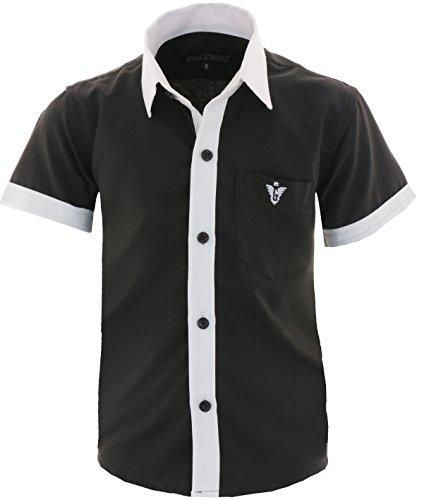 GILLSONZ A20 Kinder Party Hemd Freizeit Hemd bügelleicht Kurz ARM Gr.86-158 (146-152, Schwarz)