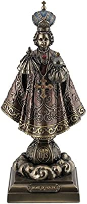 US 9.13 Inch Infant of Prague Cold Cast Decorative Figurine, Bronze Color