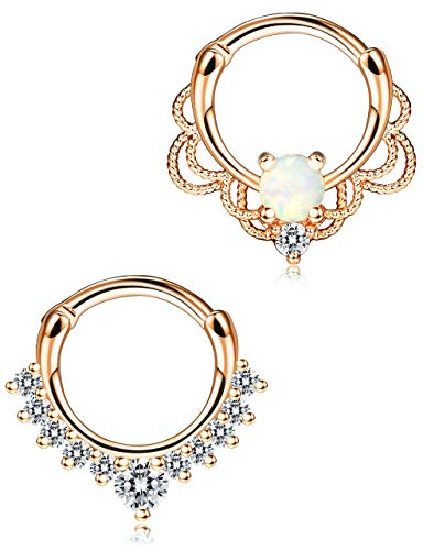 Milacolato 2 Pcs 316L Created-Opal Stainless Steel Septum Ring Body Nose Hoop Piercing Clicker Ring Titanium Women Jewelry Rose/Sliver