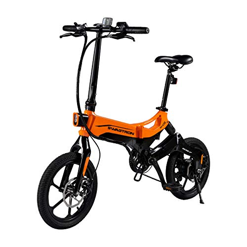 EB7 Plus Folding Electric Bike with Removable Battery & 7-Speed Gear Shift | Pedal-Assist eBike with Suspension & 16-Inch Tires | 350W Motor – Extended 19-Mile Range