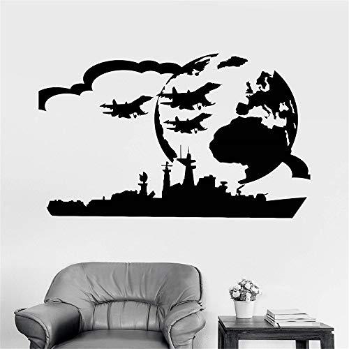 kyprx Vinilo Adhesivo de Pared USS Military Art Boy Room Pegatinas de Guerra 87x57cm