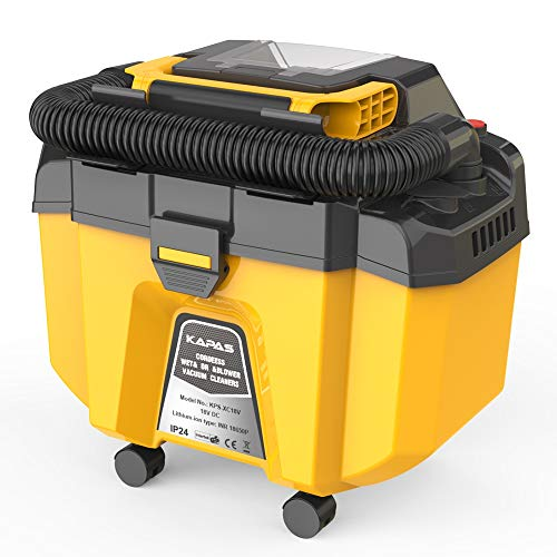 KAPAS 18V Cordless & Portable Wet/Dry Dust Vacuum/Extractor Equip with Brushless Motor, Filter Core and Wheels