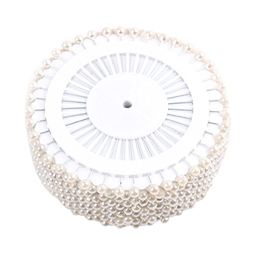 diffstyle 480 PCS 1.3 Inch Long Round Pearl Decorative Straight Head Pins Weddings Corsage Florists Sewing Pin (White)
