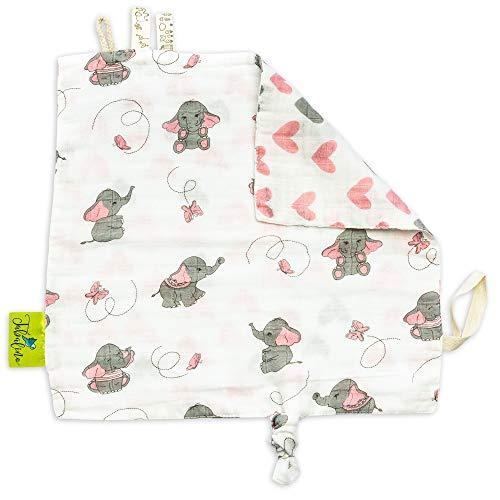 Tabalino ▪ Weiches Schmusetuch Schnuffeltuch Baby zum Kuscheln und Einschlafen ▪ ca 28x28cm ▪ ab 0 Monate ▪ Geschenk Geburt ▪ Mädchen ▪ rosa Elefanten