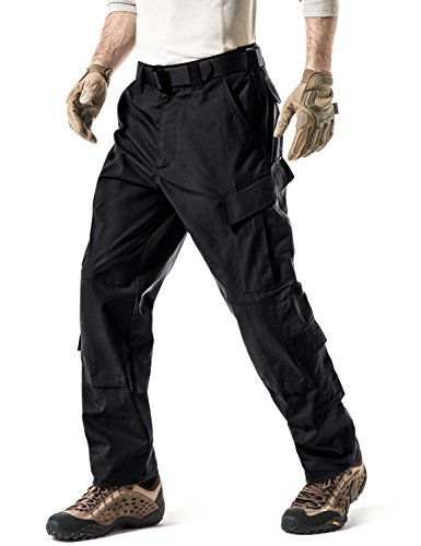 CQR Men's Tactical Pants, Military Combat BDU/ACU Cargo Pants, Water Repellent Ripstop Work Pants, Hiking Outdoor Apparel, Inspired Assault Pants(uap02) - Black, Regular/Large
